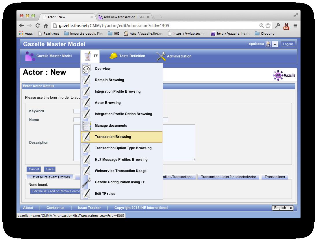 Transaction Browsing menu