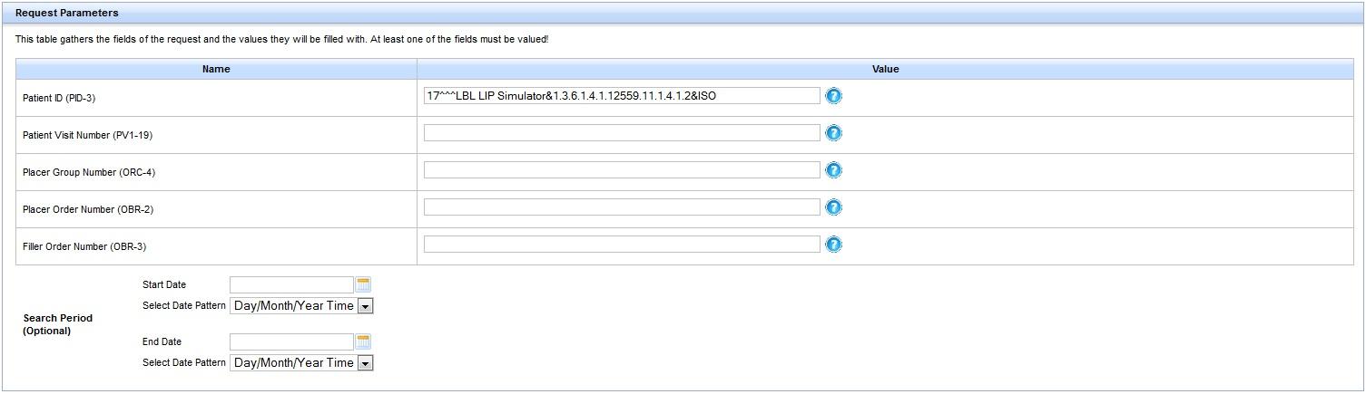 request parameter panel