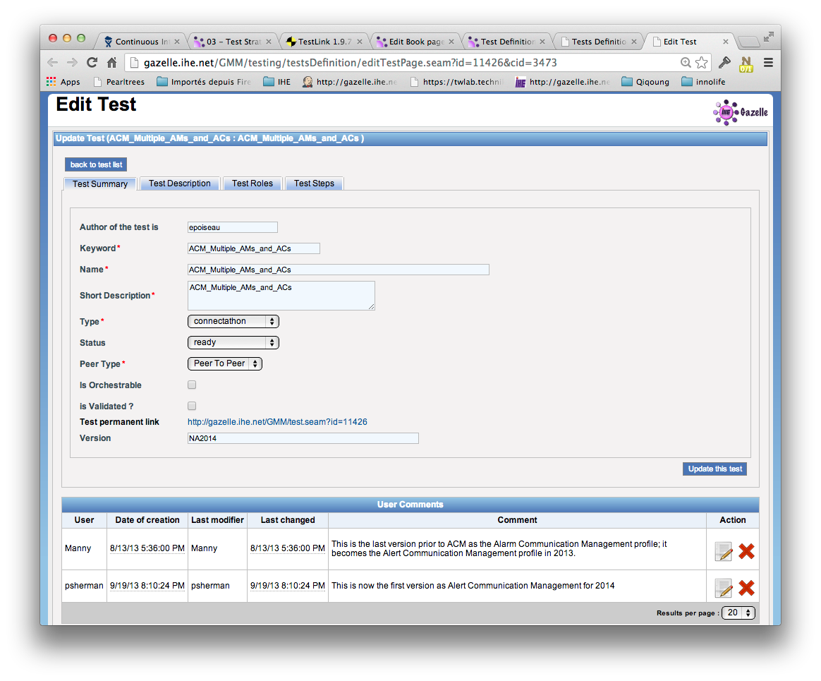 Test definition page screen capture